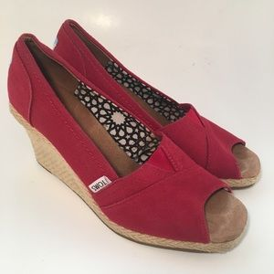 Toms Shoes - Toms Red Canvas Open Toe Espadrilles Slip On Wedge